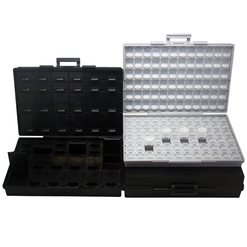 AideTek SMTresistor capacitor storage box Organizer 0603 0402 0201bins anti statics SMDTransistor diode chips 2BOXALL48AS BOXALL