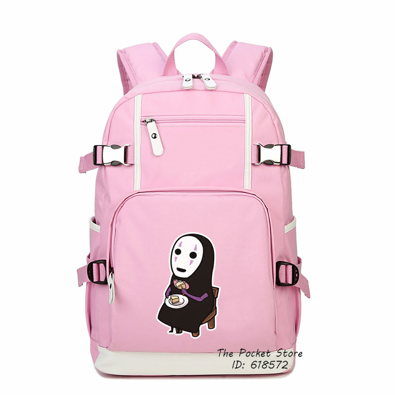 все цены на Classical Japanese Anime Spirited Away School Bags for Girls No Face Mask Printing Backpack Mochila Feminina Canvas Women Bags
