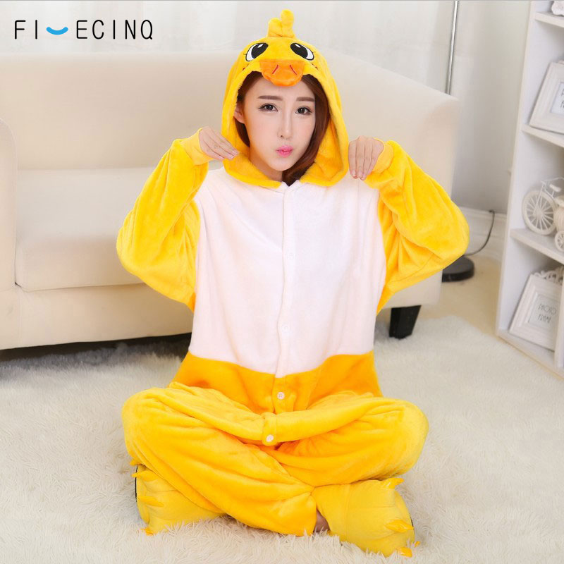 bfbe21455fb8 Yellow Duck Kigurumi Overall Animal Onesie Women Girl Winter Sleep ...