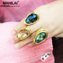 MANILAI Luxury Big Crystal Rings For Women Wedding Jewelry Handmade Metal Wire Statement Finger Rings Party Accessories(China)