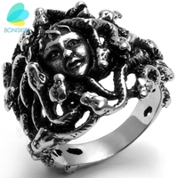 Cool Vintage Style Stainless Steel Greek Mythology Goddess Medusa Snake Haired Ring Band Jewelry Black Silver