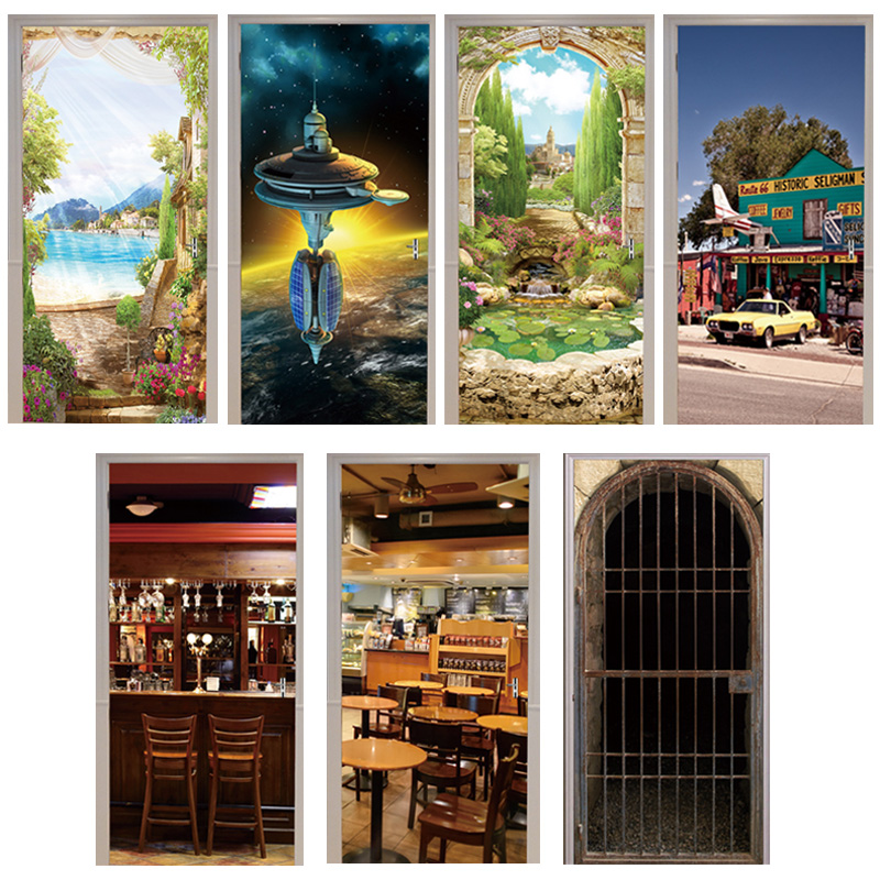 3D Door Sticker Arches Flower Seligman Coffee Gift Shop Animal Cage Restaurant Space Station Cafe Home Decoration Paste Lakeside