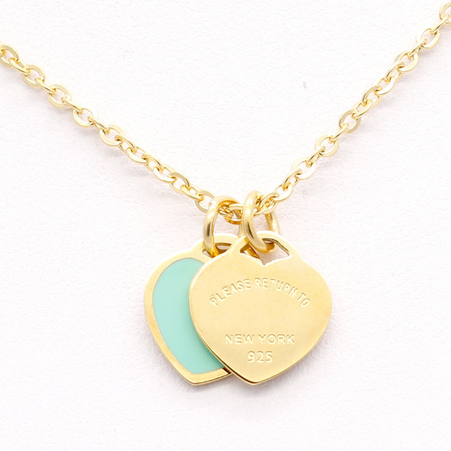 Classic Love Double Heart Enamel Ladie FOREVER LOVE Stainless Steel Tiff Necklac