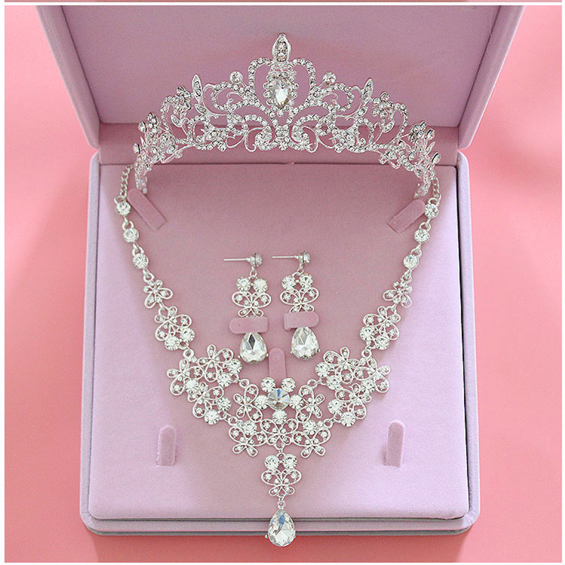 Fashion Crystal Wedding Bridal Jewelry Sets Tiara Crown Earring Necklace Bride Women Pageant Prom Jewelry Set Hair Ornaments title=