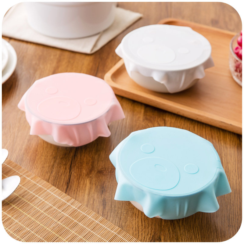 1pc Food Grade Silicone Plastic Wrap Cover Microwave Oven