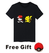 Pocket Monster Funny Cartoon Men TShirt Short Sleeve T shirt with Pokemon Go T Shirt Men