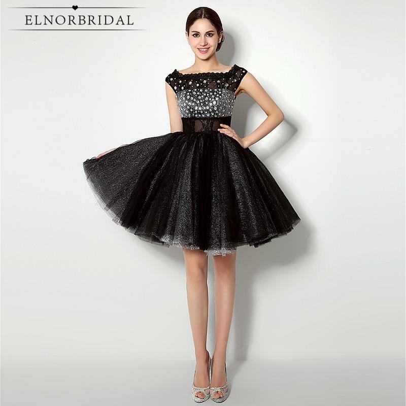 Modest Little Black   Dresses   2019 Sexy Short   Cocktail     Dress   Vestido De Festa Curto De Luxo Cap Sleeve Beading Stone Party Gowns