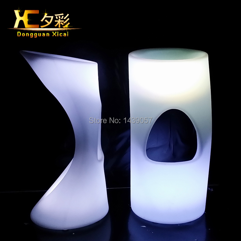 Plastic Glowing LED Bar Stool Home Garden Light Up Club Furniture Luminous Cocktail Chair For Pub Hotel Resturant Wedding one lux acrylic bar stool for home lucite bar chair high chair club bar furniture