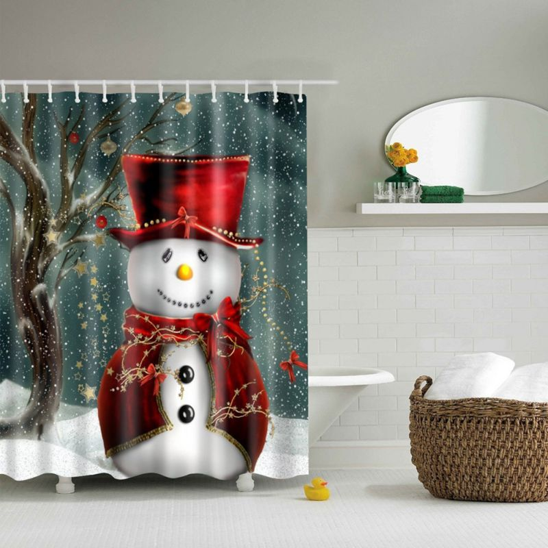 2017 Home Snowman Shower Curtain Merry Christmas Sleepy Snowman ...