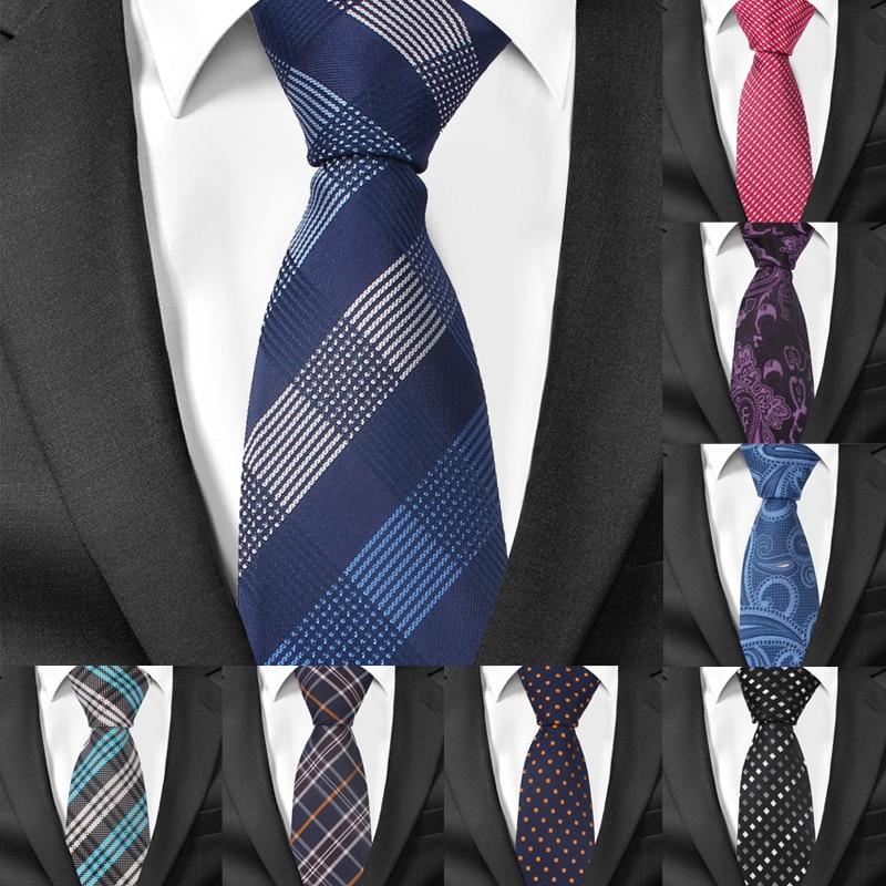 Fashion Skinny Neck Ties for Men Casual Plaid Suits Tie Gravatas Blue Mens Neckties For Business Wedding 6cm Width Slim Men Ties