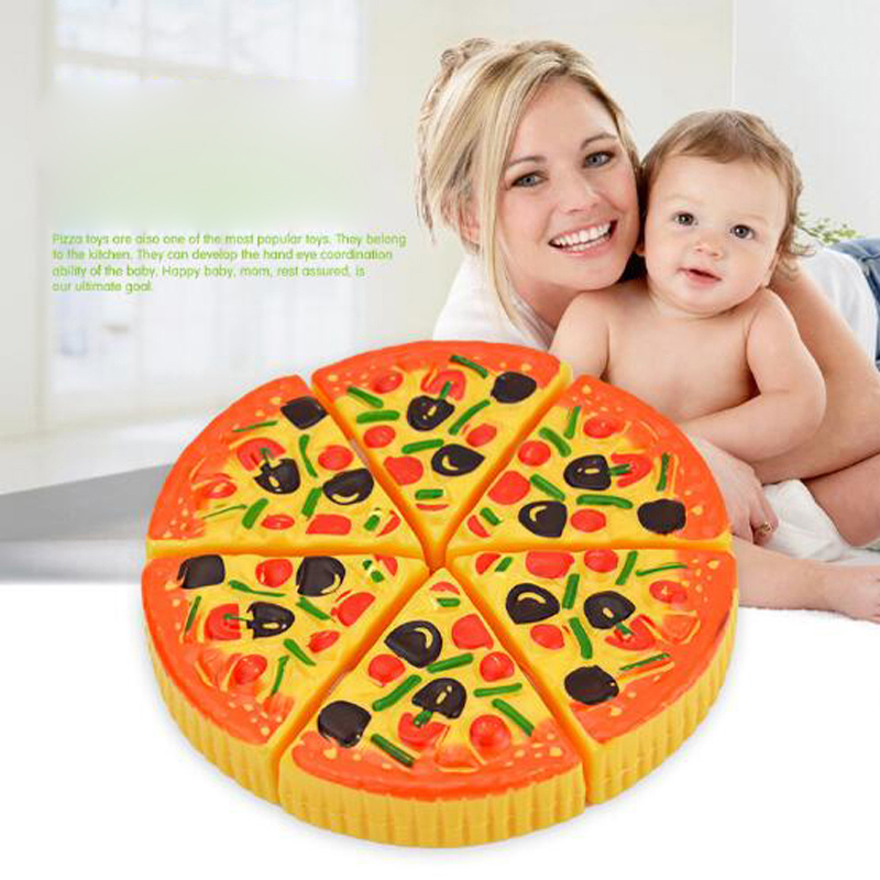 KAWO Pretend Childrens/Kids Plastic 6pcs Pizza Slices Pretend Food Kitchen Role Play Toys Pizza Party Fast Food Slices Cutting