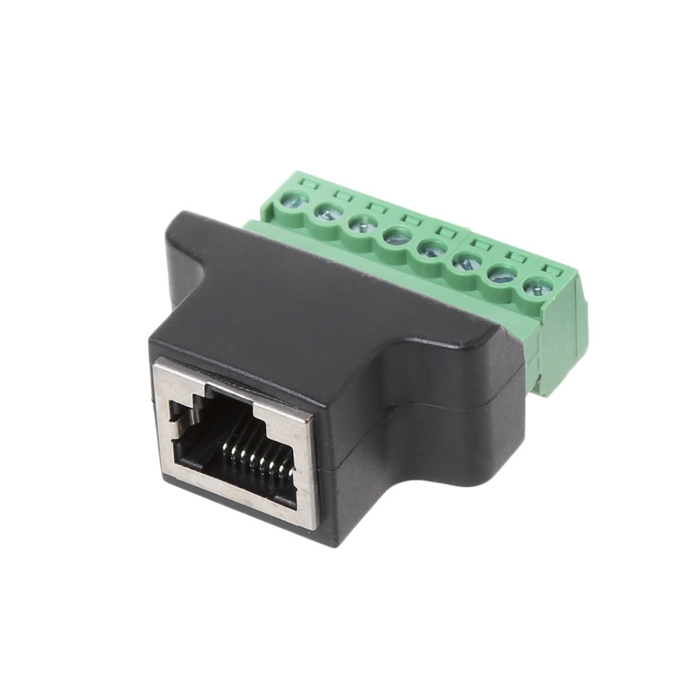 RJ45 Female To Screw Terminal 8 Pin Connector Ethernet Cable Extender Adapter