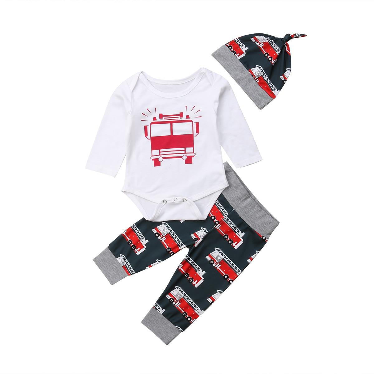 0-18M Infant Newborn Baby Boy Long Sleeve Cotton Romper Tops+Bus Print Long Pant Trouser Hat 3PCS Outfits Clothing Set