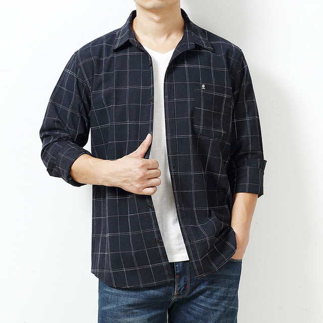 Autumn Plaid Cotton Long-Sleeved Men's Shirt 4