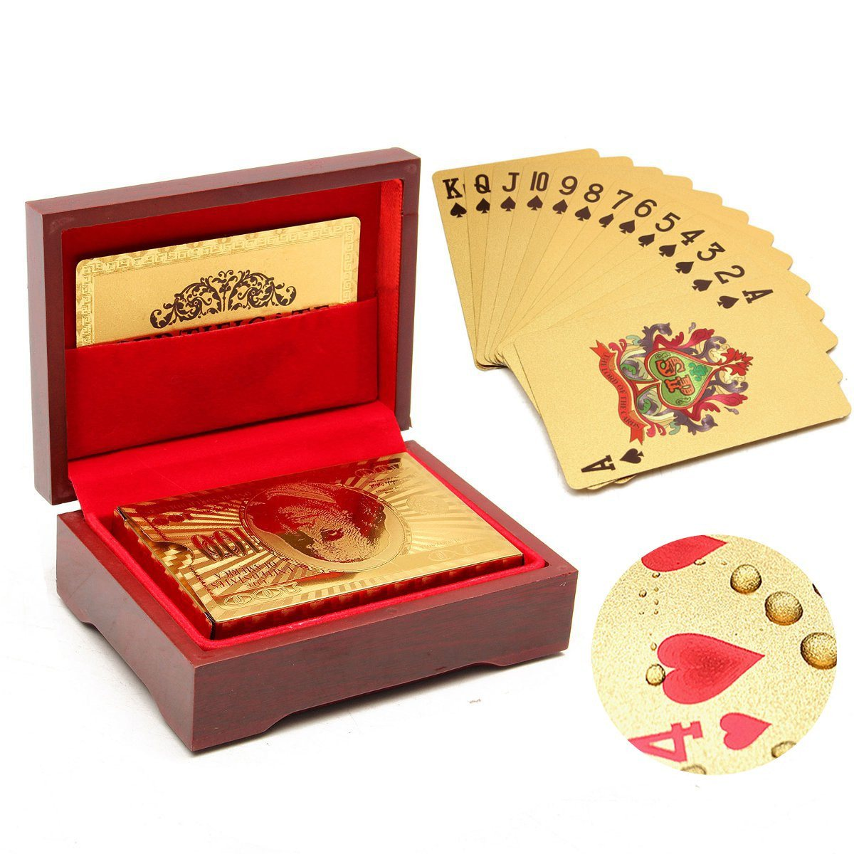 54Pcs/Set Plastic Waterproof Gold Poker Playing Cards With Red Box Perfect for Birthday Public Relations Planning Best Gifts