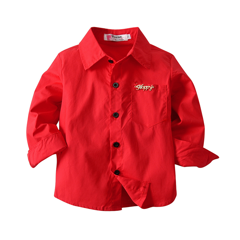 Spring Boys Red Shirts Long Sleeve Button Blouse for Children Letters Casaul Kids Clothing 2-8 Years Baby Boy Shirt