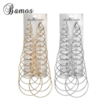 Bamos 12 Pair/Set Gold Color Hoop Earrings For Women Girls Simple Big Circle Double Sided Earrings Fashion Statement Jewelry