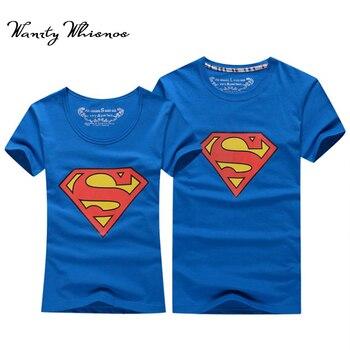 2017熱い販売スーパーマンtシャツ女性と男性愛好家の服カジュアルoネック半袖tシャツのためのカップル