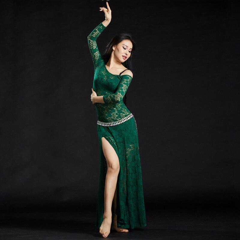c6745e95bf0 2018 Новое цельное платье для танца живота Женская танцевальная сексуальная одежда  платья цветочный кружевной танец живота костюм