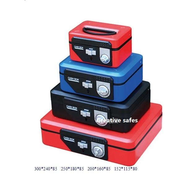 20cm 16cm 9cm Double Insurance Red Key and Password Safes Metal Portable Cashier Box Piggy Bank