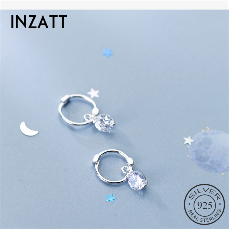 INZATT 100% 925 Sterling Silver Bohemia Geometric Round Zircon Hoop Earrings For Women Party FINE Jewelry Accessories Gift