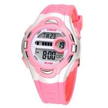 Reloj de los niños relojes de pulsera de la muchacha impermeable luz nocturna multifuncional estudiante Reloj deportivo reloj electrónico chica jalea relojes