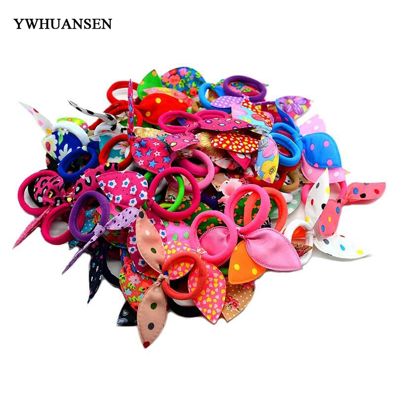 YWHUANSEN Rabbit ears gum for  Hair Women/Girls Accessories Scrunchy Elastic Hair Bands Headdress acessorios para cabelo 50pcs black hairband hair elastic bands for ladies elastic ring hair scrunchy tie gum headbands girls hair accessories for women