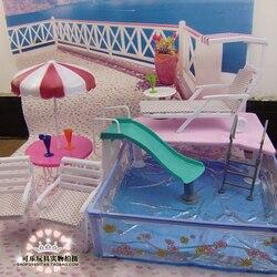 إكسسوارات دمي للعب دمية باربي حمام سباحة الأثاث مظلة كرسي الشاطئ يمكن الشريحة لمجموعة دمية باربي بركة
