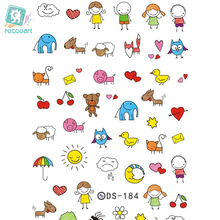 DS184 DIY Nail Design Water Transfer Nails Art Sticker Cute Cartoon Picture Nail Wraps Sticker Watermark Fingernails Decals стоимость
