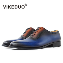 Фотография VIKEDUO handmade vintage custom genuine leather shoe luxury party office wedding dress shoes original design mens oxford shoes