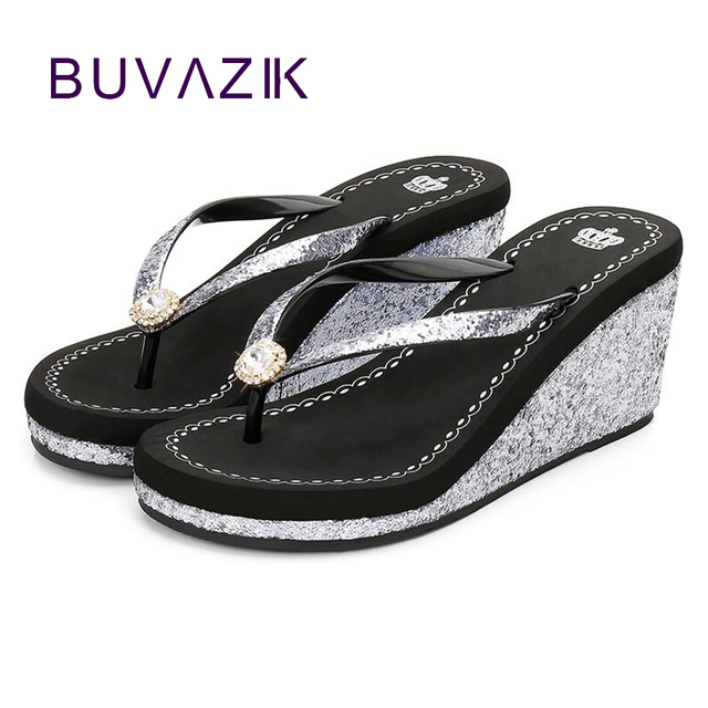 1ced7bef4 2018 new ladies sandal summer sequins diamond slope with non-slip women  flip flops fashion high heel shoes