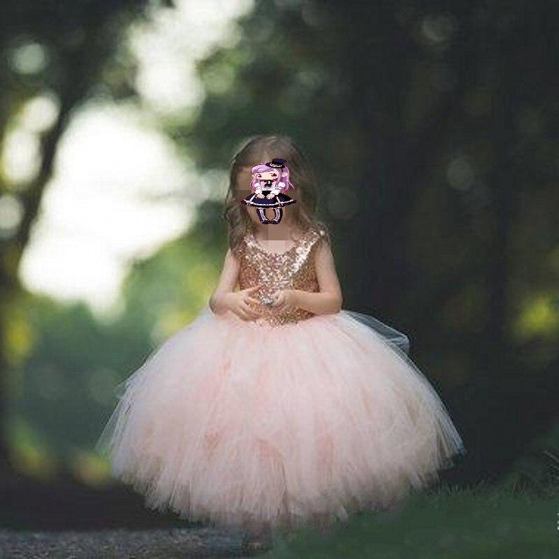 Rose Gold Sequins Blush Tutu   Flower     Girls     Dresses   Puffy Full length Little Toddler Infant Wedding Party   Girl   Communion   Dress