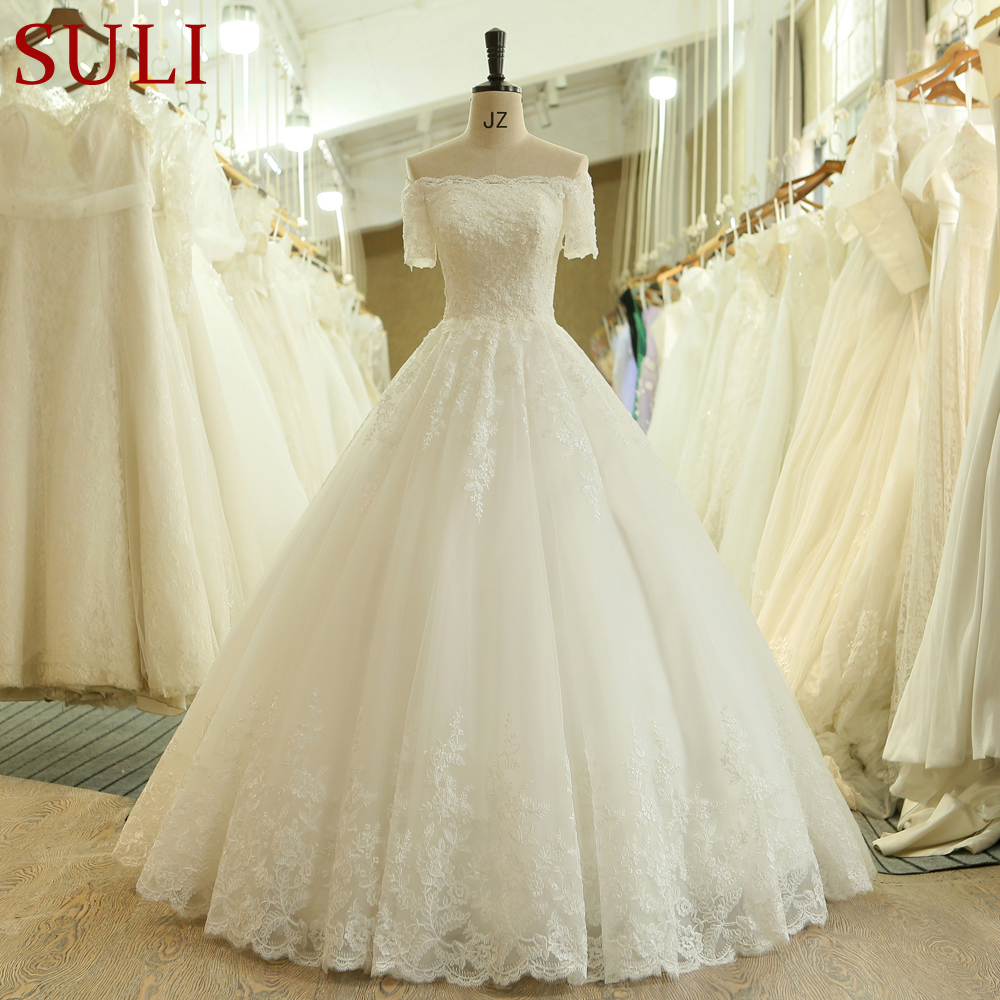 SL 537 Vintage Beads Lace Short Sleeve Off Shoulder Bridal Gown Wedding Dress 2018