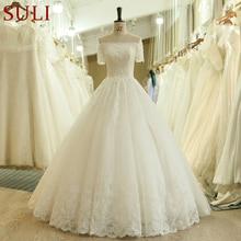 Robe de mariée longue à manches courtes en dentelle, épaules dénudées, robe de mariée Vintage, SL 537