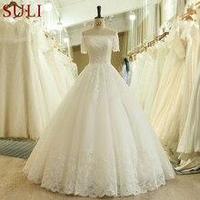 SL 537 w stylu Vintage koraliki koronki z krótkim rękawem Off ramię suknia ślubna suknia ślubna kobiety suknie ślubne szata femme szata longue