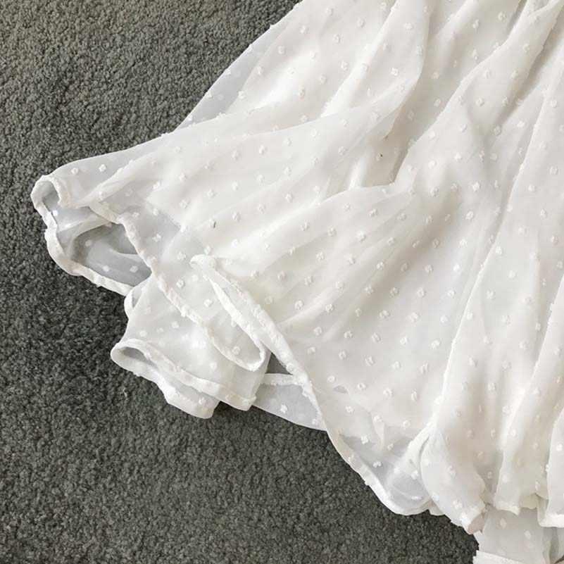 Letnie body na co dzień kobiety zasznurować Romper kombinezon z szeroką nogawką dekolt w serek szyfon Bechwear Mono Mujer Combinaison Femme