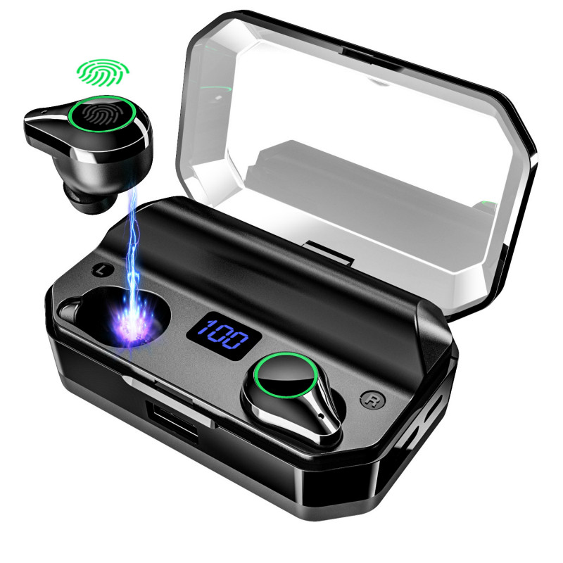 <font><b>T9</b></font> <font><b>TWS</b></font> Bluetooth Earphone True Wireless Stereo Earbuds LED Digital Display with 7000 MAh Charge Box Power Bank image