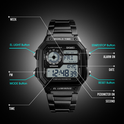 Countdown Compass Sport Watch SKMEI Mens Watches Top Brand Luxury Wrist Watch Men Waterproof LED Electronic Digital Male Watch Lahore