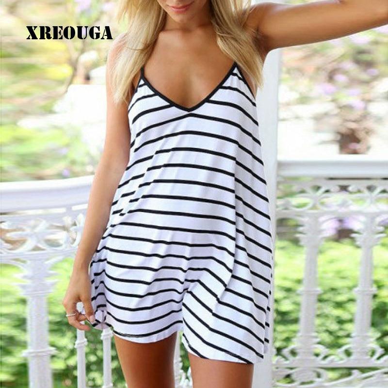цена на Bikini Beach Wear Cover Up Summer Dress Halter Womens Swimwear Beachwear Black White Stripe Free Shipping