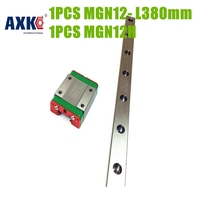 AXK 3d Printer Linear Shaft 12mm Linear Guide And Rail 1pc MGN12 L 380mm 1pc MGN12H