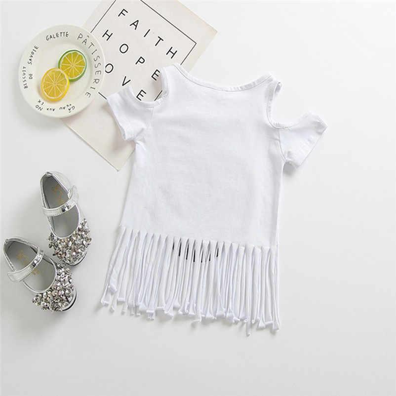 419aa777931cf ... 2018 Summer New Casual Sequins Owl Tops Baby Girls Strapless Tassel  Cartoon T-shirt Summer