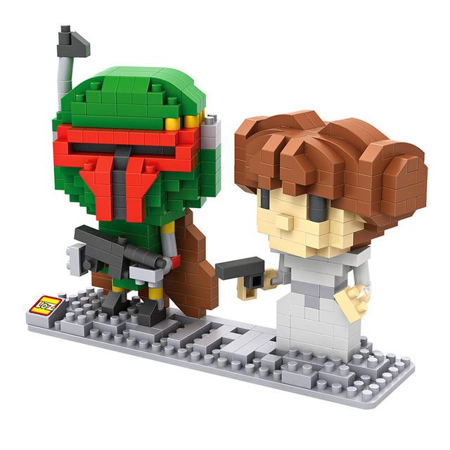 LOZ Blocks Star Wars Yoda Darth Vader DIY Model Building Blocks Stormtrooper Luke Skywalker Leia Organa Wicket Boba Fett