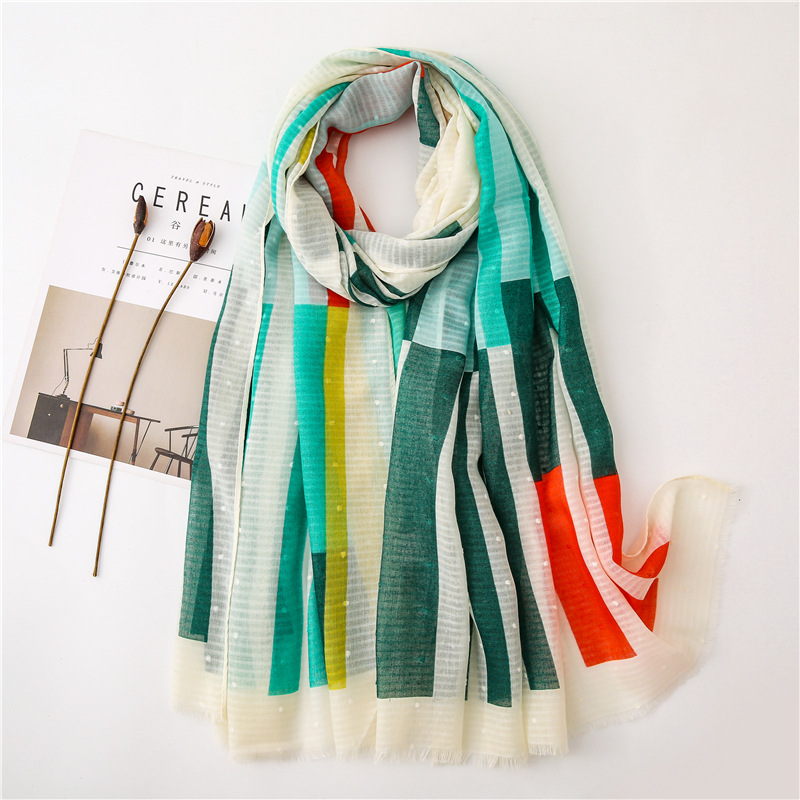 Fashion Gradient Striped Line Fringe Viscose Shawl   Scarf   Women High Quality Printe Pashmina Stole Bufandas Muslim Hijab 180*90Cm