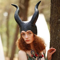Fashion Women Genuine Latex Maleficent Horns Halloween Party Witch Cosplay Costume Hat