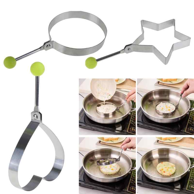 1PC Non-stick Stainless Steel Omelette Egg Frying Mold Love Round Star Flower Pancake Cooking For Kids