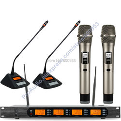 MICWL Audio Classic 400 Channel Digital Wireless Meeting Karaoke Microphone Mic System 2 Handheld 2 Desktop Mike