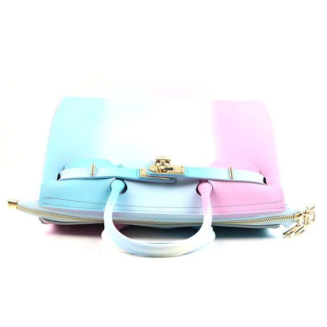 9d33f3186d Jellyooy Zipper Colorful Stripe 30cm Large Size luxury handbags women bag  Girls Plastic PVC Jelly Candy Color Shoulder Beach Bag