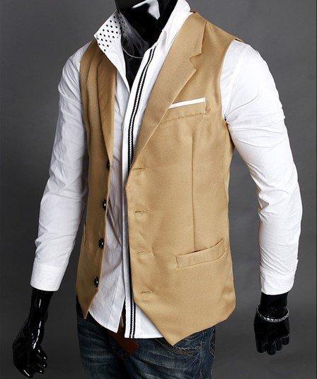 Spring Fashion Solid Slim Fit Turn-Down Collar Men Dress Suit Vests Mans Overcoat XXL