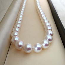 Eternal wedding Women Gift word 925 Sterling silver real Japan Akoya natural seawater pearl round round flawless flawless 7-7.5m eternal wedding women gift word 925 sterling silver real pink 7 8mm round round natural pearl necklace authentic mail