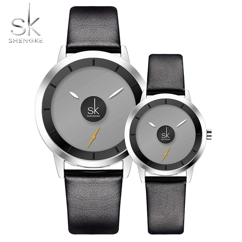 New Relogio Couples Watch Leather Quartz Watch Mens Ladies Fashion Sport Clock Men's Watches SK Women's Watches Gifts